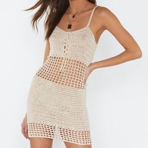 NASTYGAL White/Cream Crotchet Dress - Size: S-M